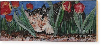 Cat In The Grass Wood Print by Cathy Weaver