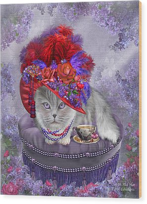 Cat In The Red Hat Wood Print by Carol Cavalaris