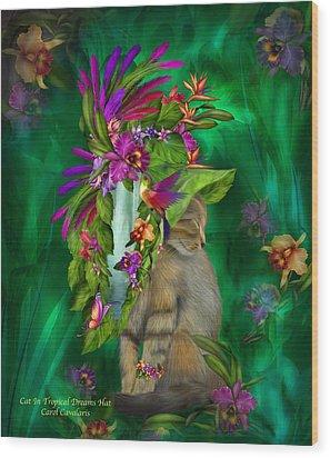 Cat In Tropical Dreams Hat Wood Print by Carol Cavalaris