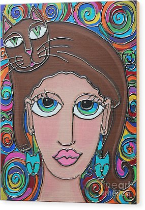 Cat Lady With Brown Hair Wood Print by Cynthia Snyder