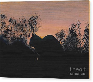 Wood Print featuring the drawing Cat - Orange - Silhouette by D Hackett