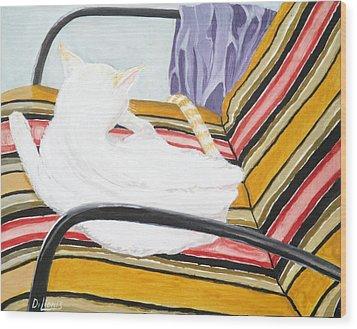 Cat Painting Wood Print