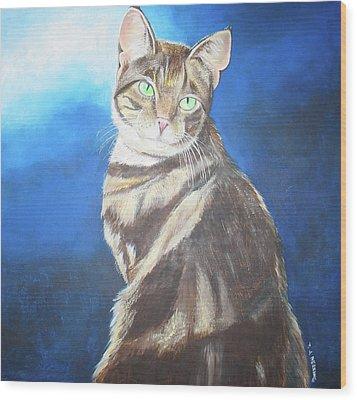 Cat Profile Wood Print by Thomas J Herring