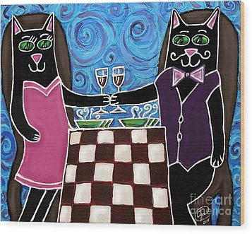Cat Romance Wood Print by Cynthia Snyder