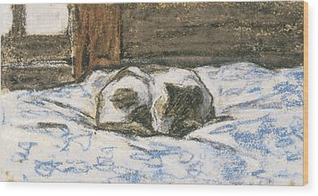 Cat Sleeping On A Bed Wood Print by Claude Monet