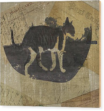 Cat Travels Wood Print