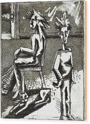 Cat Under Chair Wood Print by Genevieve Esson