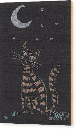 Cat Under The Moonlight Wood Print by Angel  Tarantella