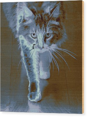 Cat Walking Wood Print by Ben and Raisa Gertsberg