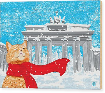 Cat With Scarf Wood Print by Carolina Matthes