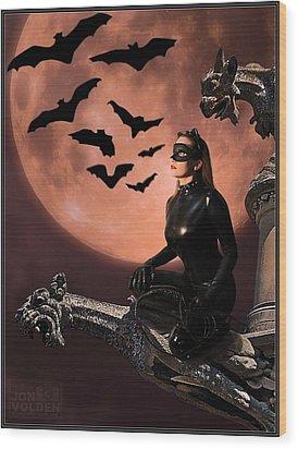 Cat Vs Bat Wood Print