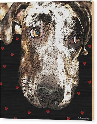 Catahoula Leopard Dog - Lover Wood Print by Sharon Cummings