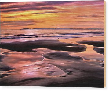 Wood Print featuring the painting Catalina Sunset by Michael Pickett