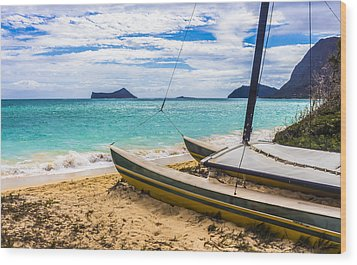 Catamaran On Waimanalo Beach Wood Print