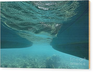 Catamaran's Hull Underwater Wood Print by Sami Sarkis