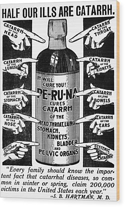 Catarrh Cure For What Ails You C. 1905 Wood Print by Daniel Hagerman