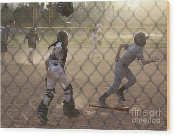 Catcher In Action Wood Print by Chris Thomas