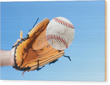 Catching A Baseball Wood Print by Joe Belanger