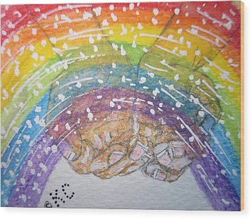 Catching A Rainbbow Wood Print by Kathy Marrs Chandler