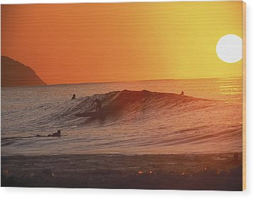 Catching A Wave At Sunset Wood Print by Vince Cavataio - Printscapes