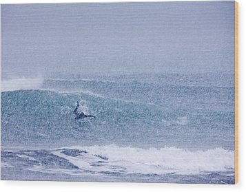 Catching A Wave In A Blizzard Wood Print by Tim Grams