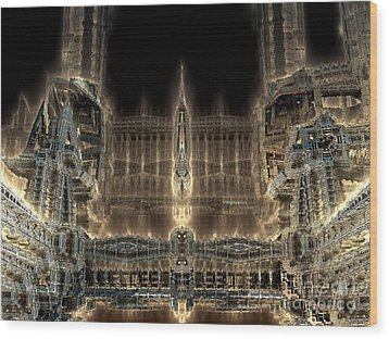 Cathedral By Night Wood Print by Bernard MICHEL