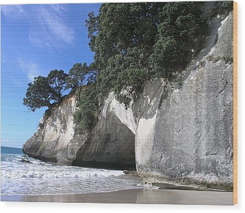 Cathedral Cove Wood Print by Christian Zesewitz