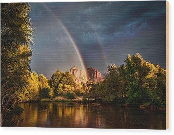 Cathedral Crossing Double Rainbow Wood Print by Linda Pulvermacher