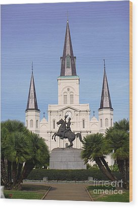 Wood Print featuring the photograph Cathedral In Jackson Square by Alys Caviness-Gober