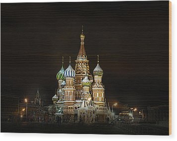 Cathedral Of Basil The Blessed Wood Print