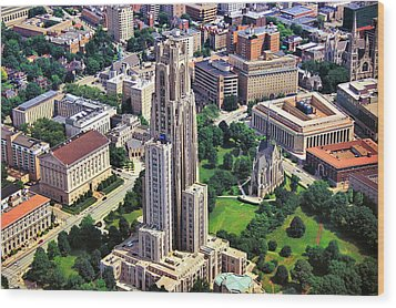 Cathedral Of Learning Aerial Wood Print by Pittsburgh Aerials