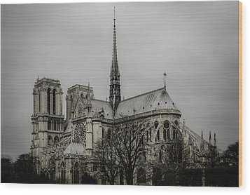 Cathedral Of Notre Dame De Paris Wood Print by Marco Oliveira