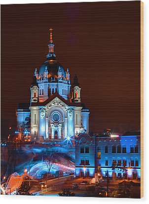 Cathedral Of St Paul All Dressed Up For Red Bull Crashed Ice Wood Print by Wayne Moran