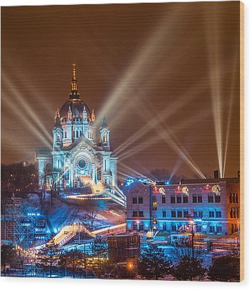 Cathedral Of St Paul Ready For Red Bull Crashed Ice Wood Print by Paul Freidlund