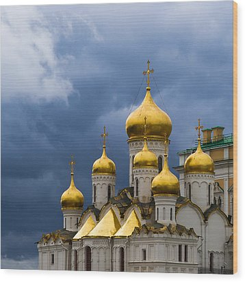 Cathedral Of The Annunciation Of Moscow Kremlin - Square Wood Print by Alexander Senin