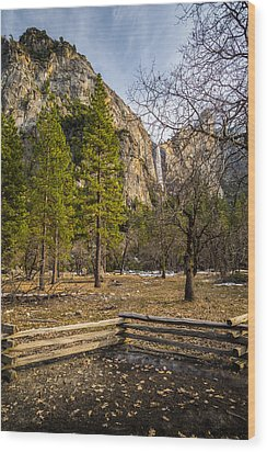 Cathedral Rock And Bridalveil Falls Wood Print by Mike Lee