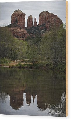 Cathedral Rock And Reflection Wood Print by Dave Gordon