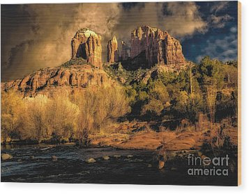 Cathedral Rock Before The Rains Came Wood Print by Jon Burch Photography
