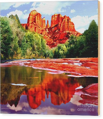 Cathedral Rock Sedona Arizona Wood Print by Bob and Nadine Johnston