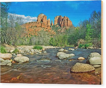 Cathedral Rock Sedona Wood Print by Steven Barrows