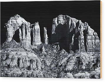Cathedral Rock Shadows Wood Print by John Rizzuto
