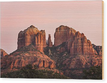 Cathedral Rock Sunset Wood Print by Mary Jo Allen