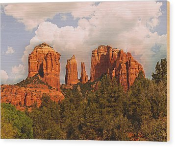 Cathedral Rock Sunset Wood Print by Bob and Nadine Johnston