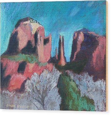 Cathedral Rock With Gray Trees Wood Print