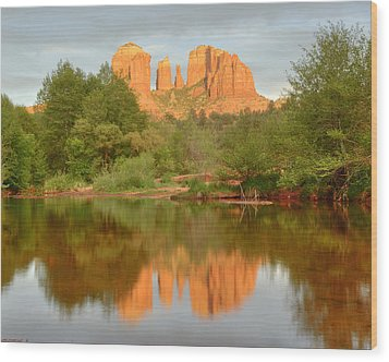 Wood Print featuring the photograph Cathedral Rocks Reflection by Alan Vance Ley