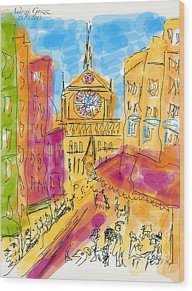 Cathedrale Notre Dame De Paris. I Love Paris - J Adore Paris . The Young Rebels Movement. Wood Print by  Andrzej Goszcz