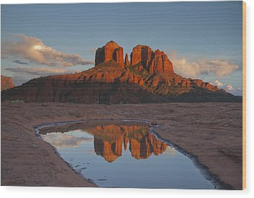 Cathedrals' Reflection Wood Print by Tom Kelly