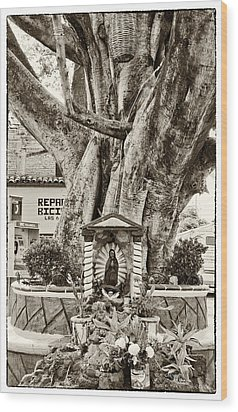Wood Print featuring the photograph Catholic Shrine - Our Lady Of Guadalupe, Mexico - Travel Photography By David Perry Lawrence by David Perry Lawrence