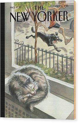 Catnap Wood Print by Peter de Seve