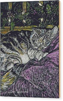 Catnap Wood Print by Robert Goudreau